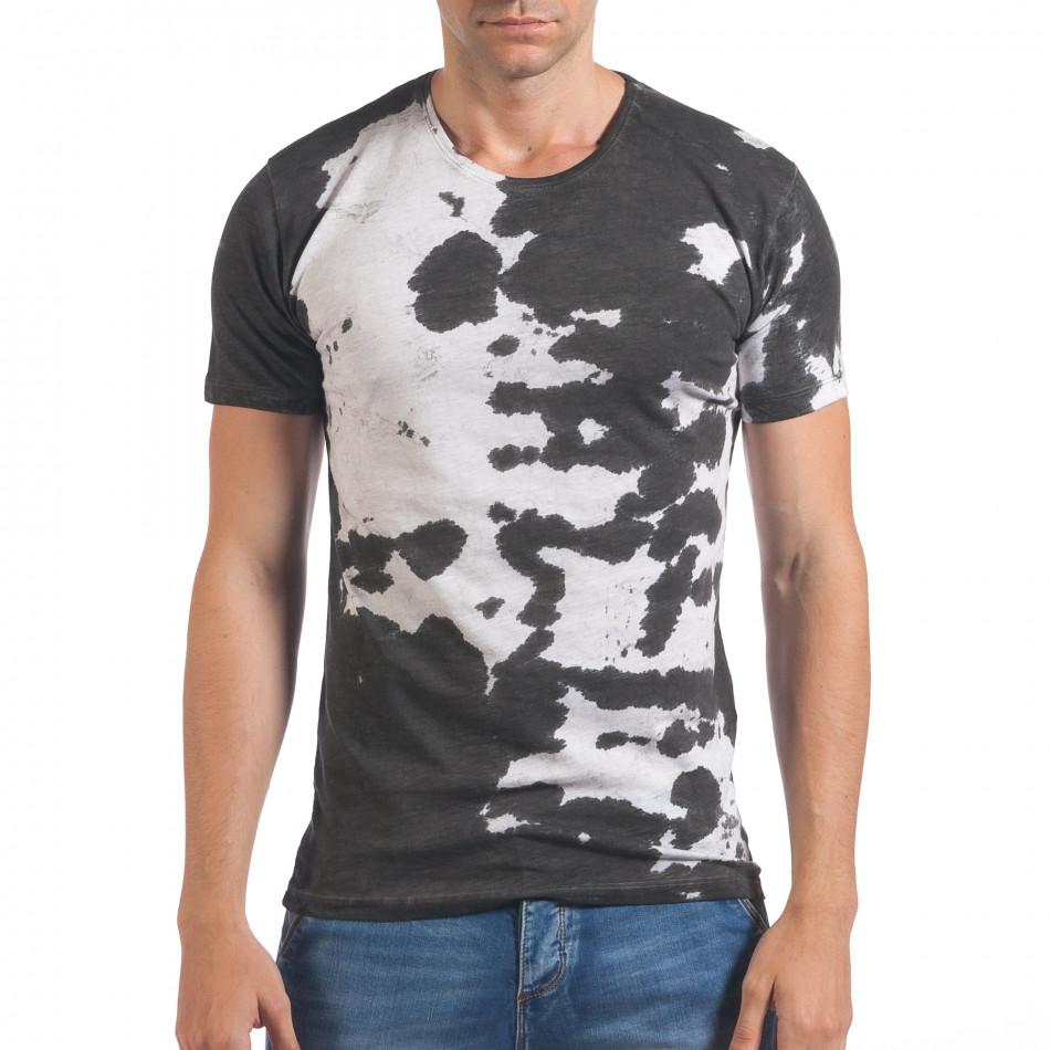 Мъжка бяла тениска със сив принт il060616-53