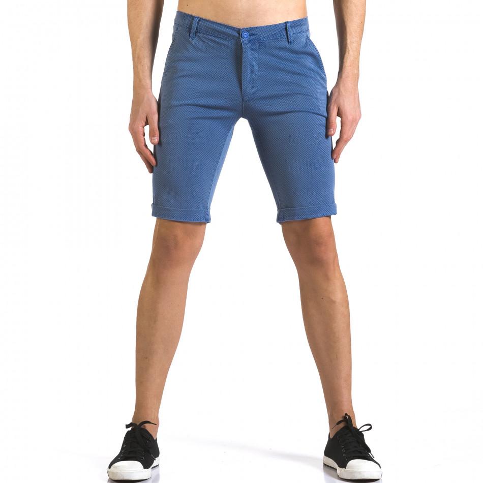 Мъжки сини къси панталони с малки ромбчета it110316-46