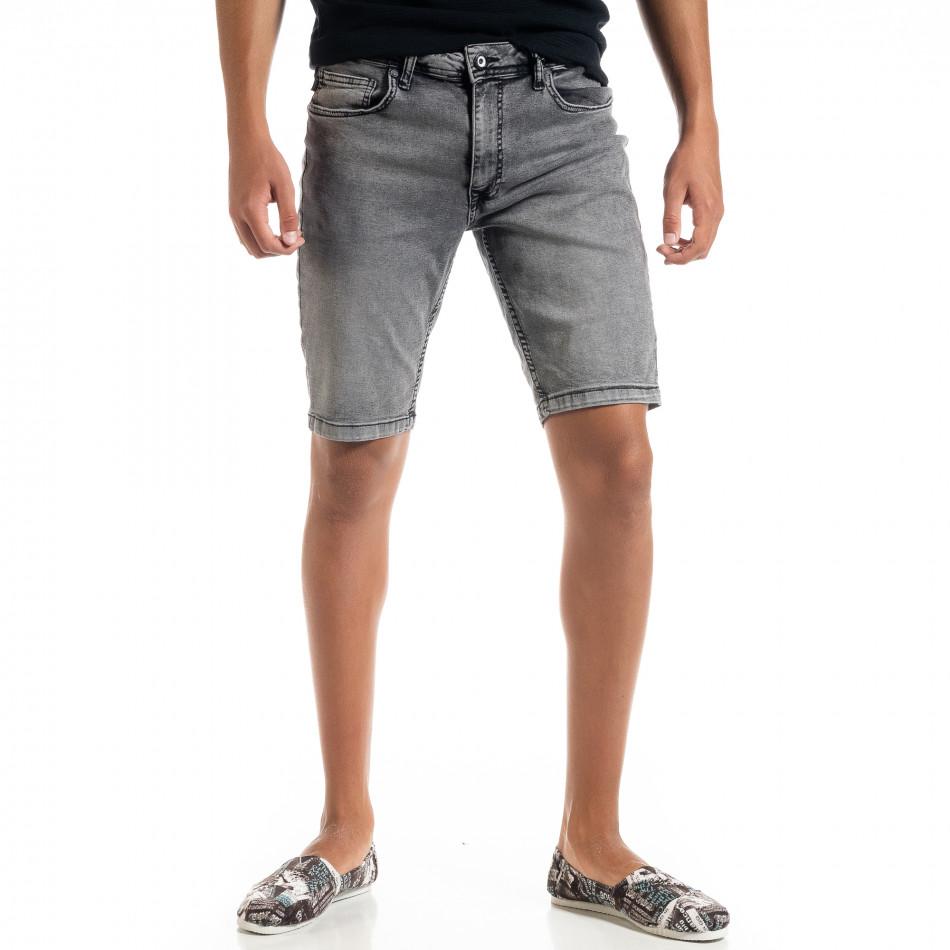 Big Size Basic мъжки сиви къси дънки tr010720-19
