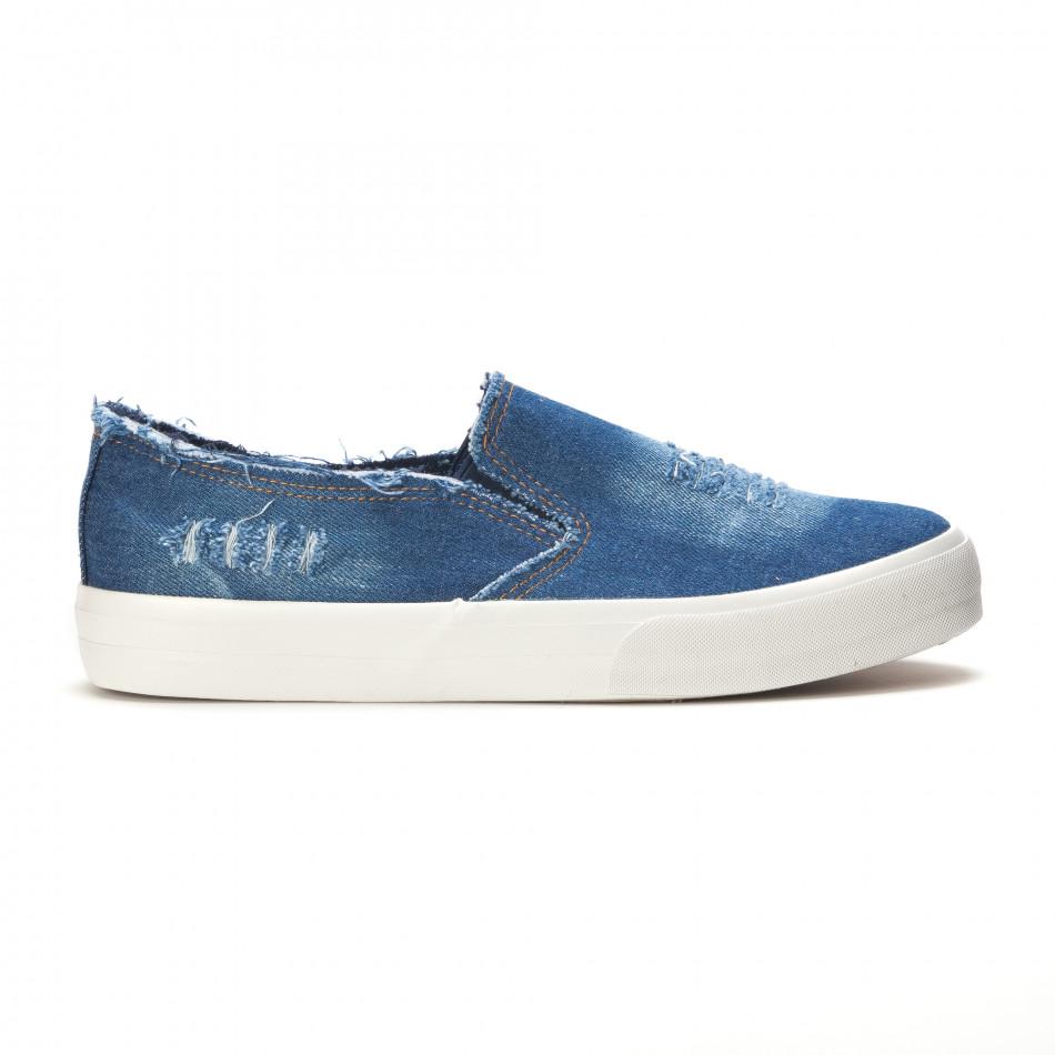 Мъжки сини дънкови кецове slip on it090616-14