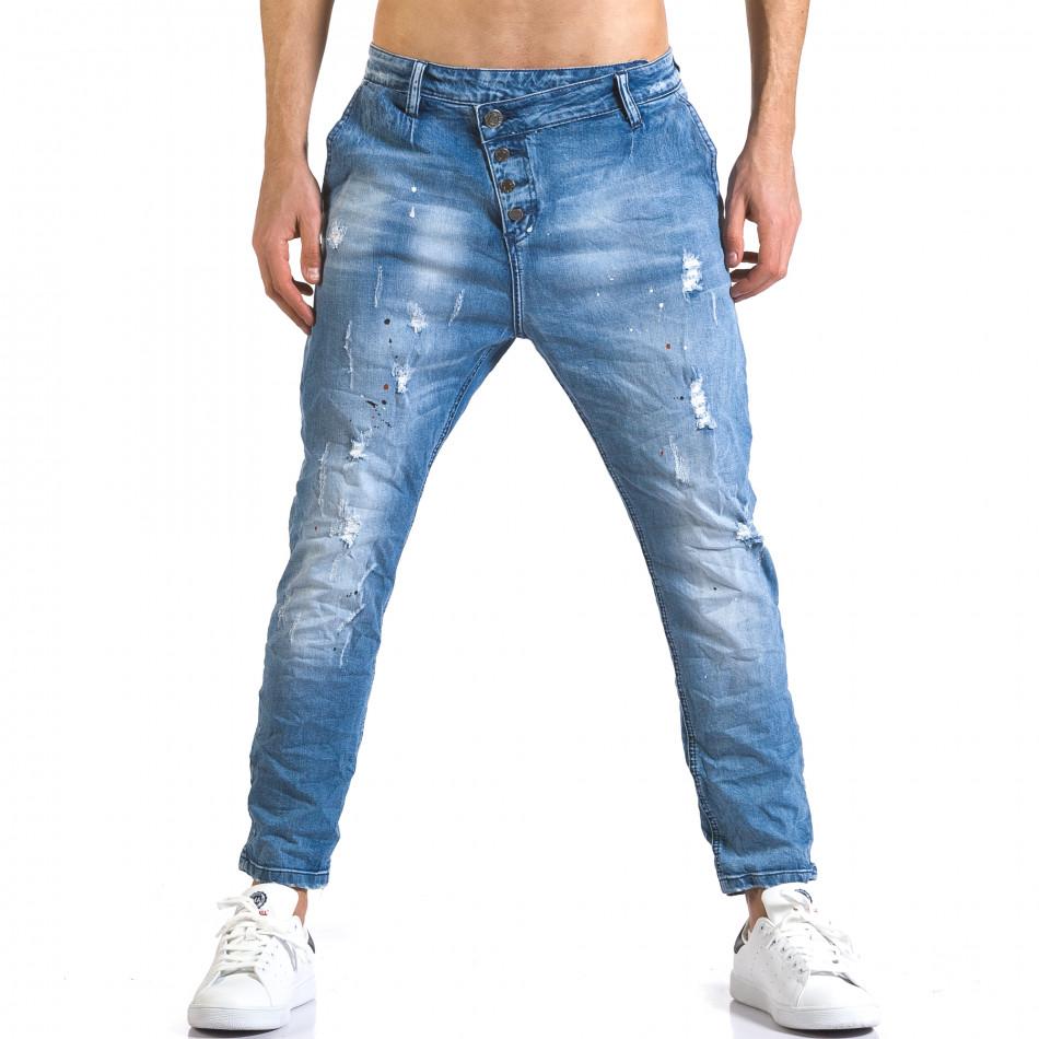 Мъжки светло сини дънки с боя и италиански джобове it110316-24