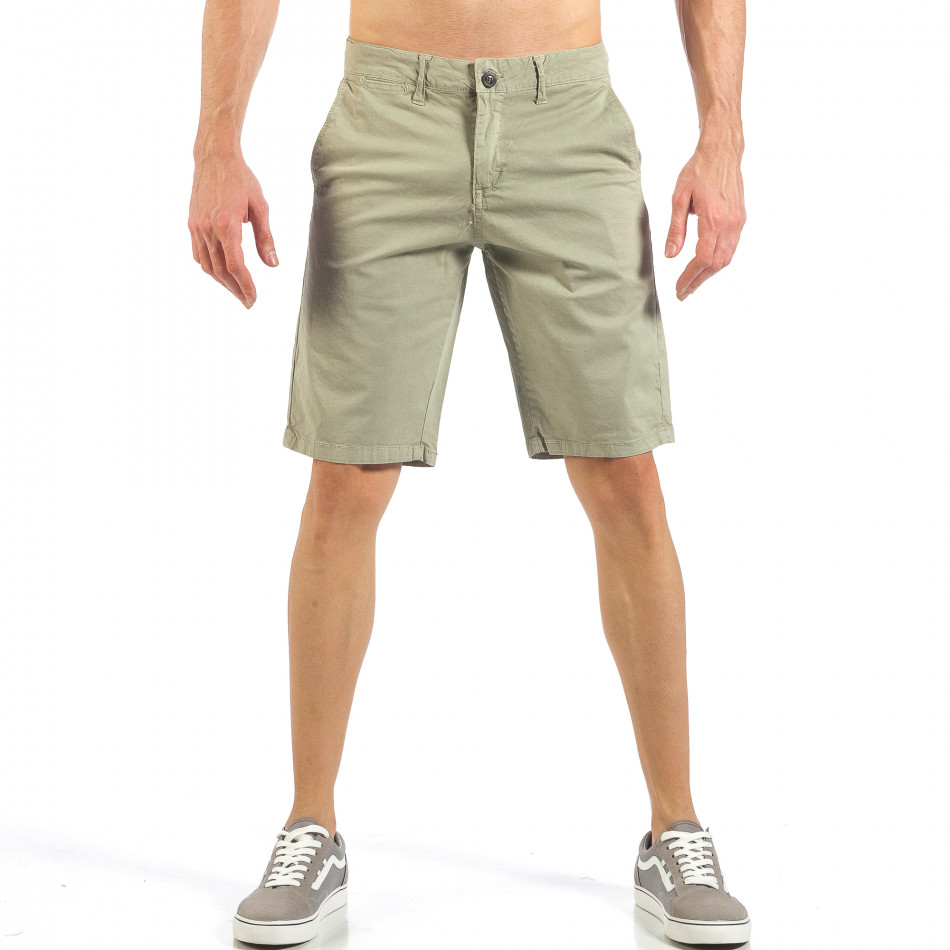 Мъжки бежови къси панталони с италиански джобове it260318-134