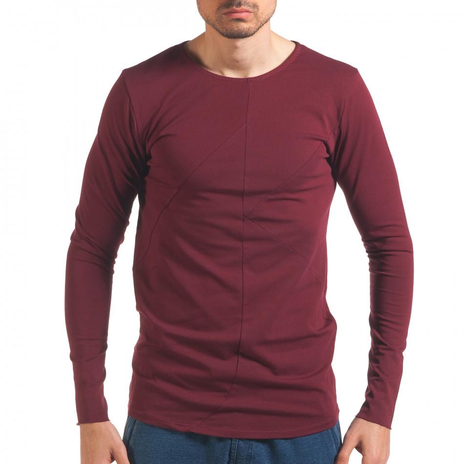 Червена мъжка блуза с дълъг ръкав it250416-76