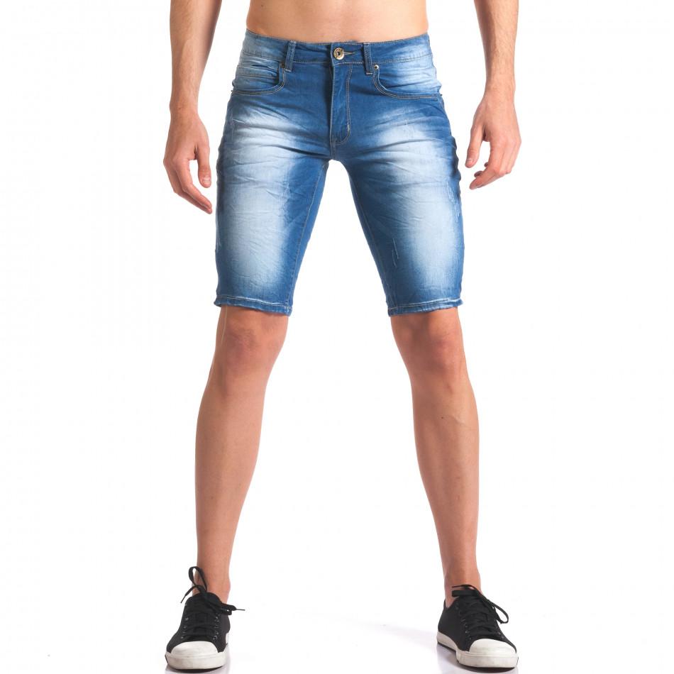 Къси мъжки дънки с избелял ефект it250416-30