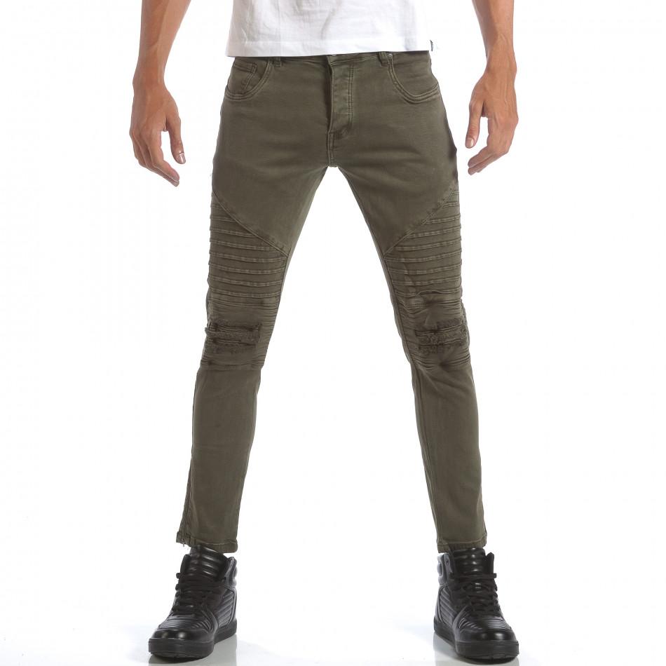 Мъжки зелени дънки със скъсвания и кръпки it160817-10