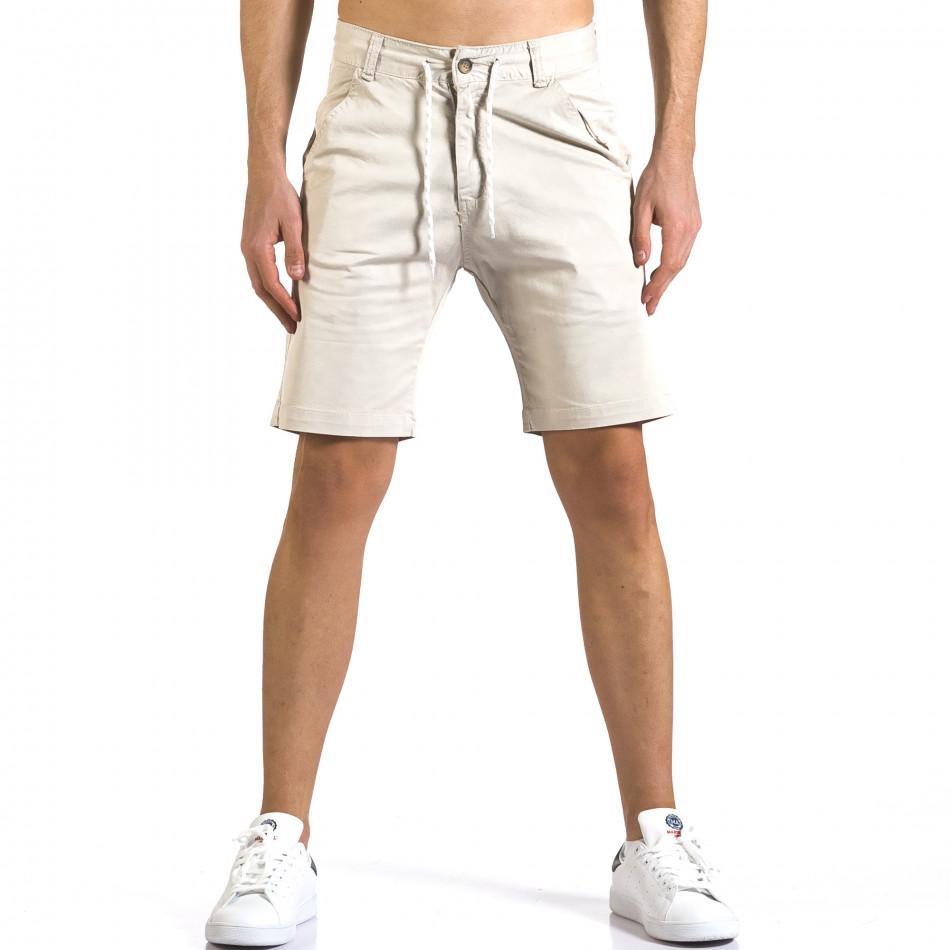 Мъжки бежови къси панталони с връзки it110316-40