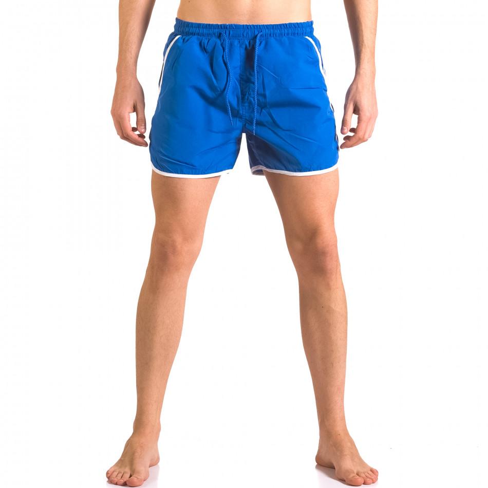 Мъжки сини бански шорти с джобове от двете страни ca050416-10