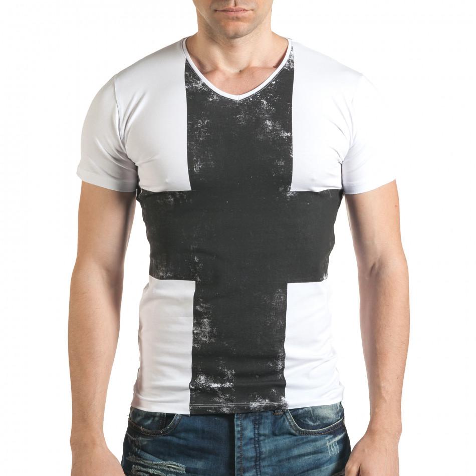 Мъжка тениска в бяло с голям черен кръст отпред il140416-7