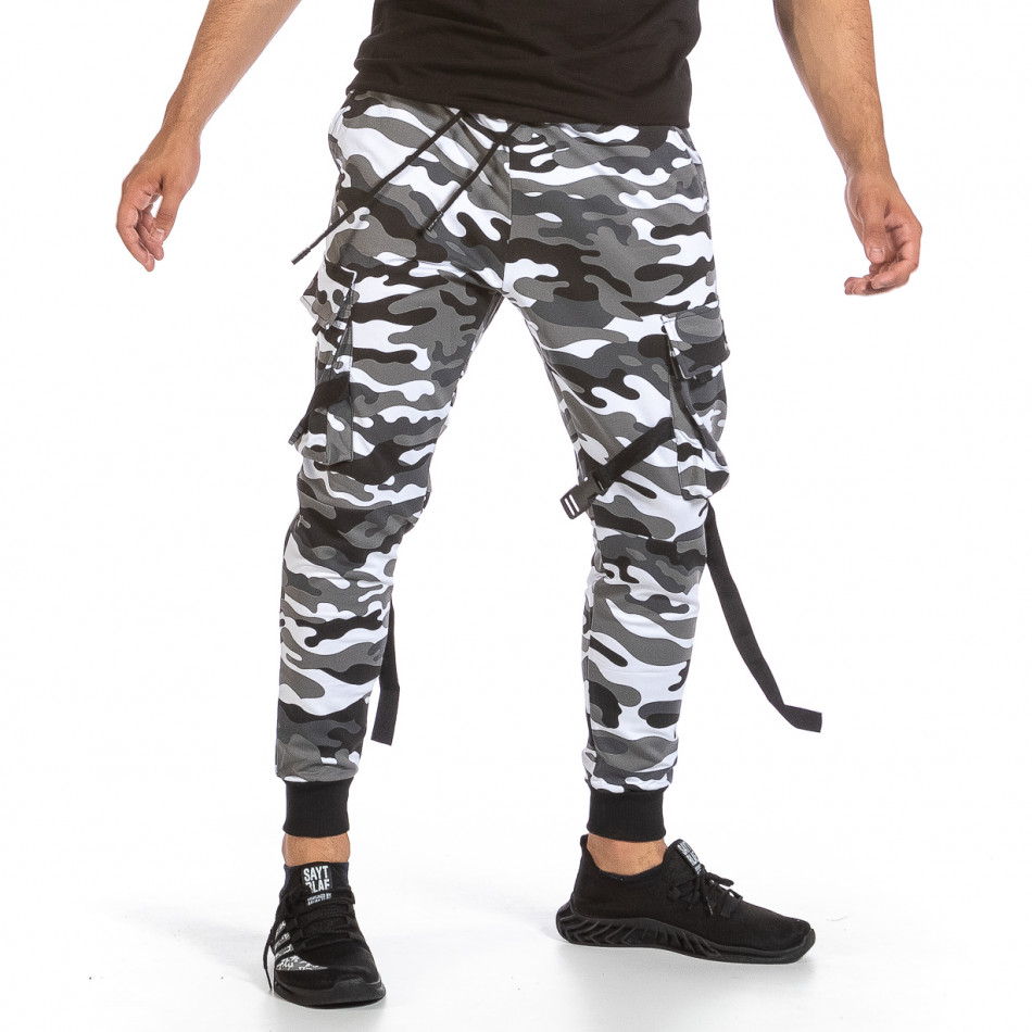 Мъжко Hip Hop долнище черно-бял камуфлаж it240621-38