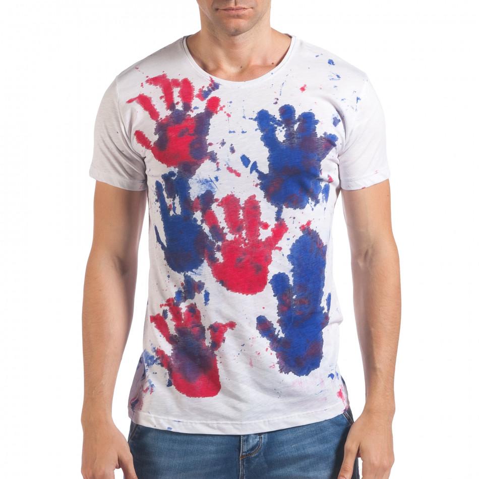 Мъжка бяла тениска със сини и червени отпечатъци il060616-49
