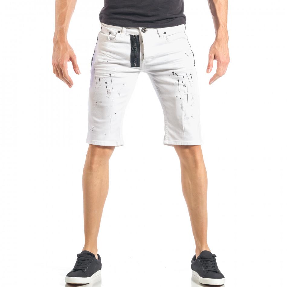 Бели мъжки къси дънки с черен цип и пръски it040518-80