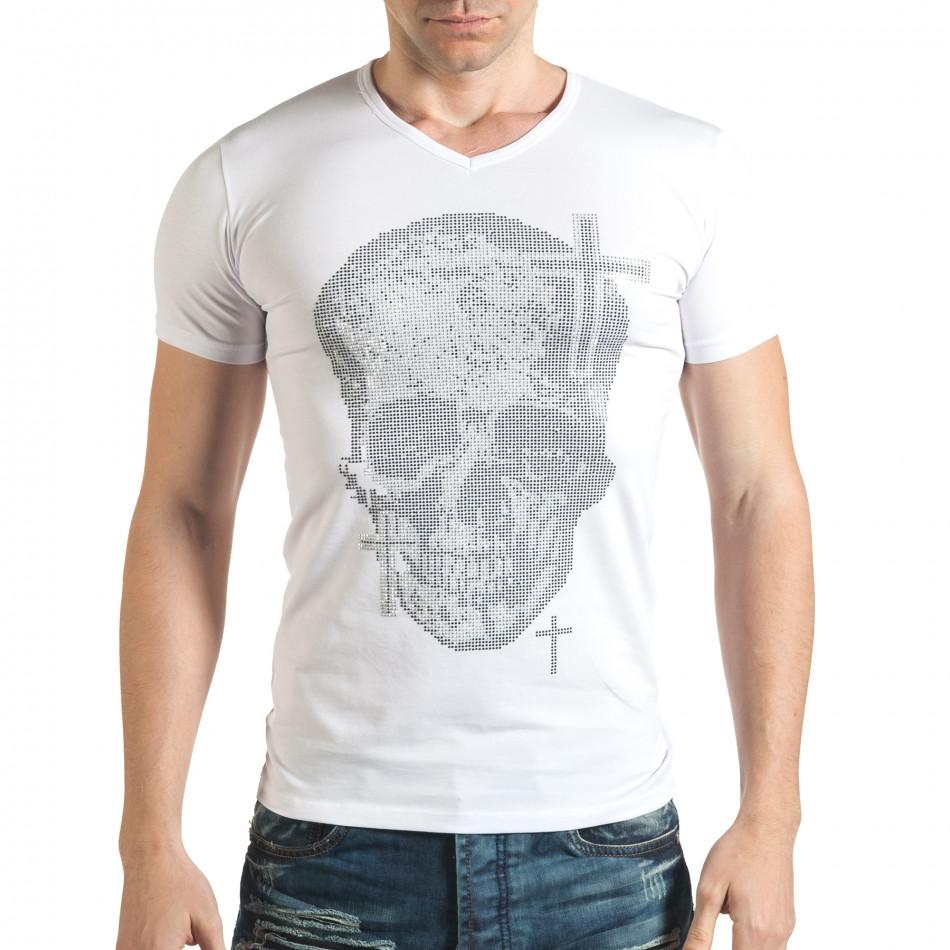 Бяла мъжка тениска с череп от сребристи и черни камъни il140416-10