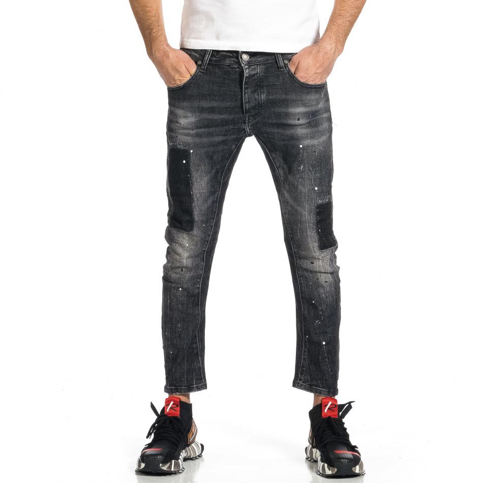 Мъжки черни дънки Cropped Destroyed Paint gr270421-20