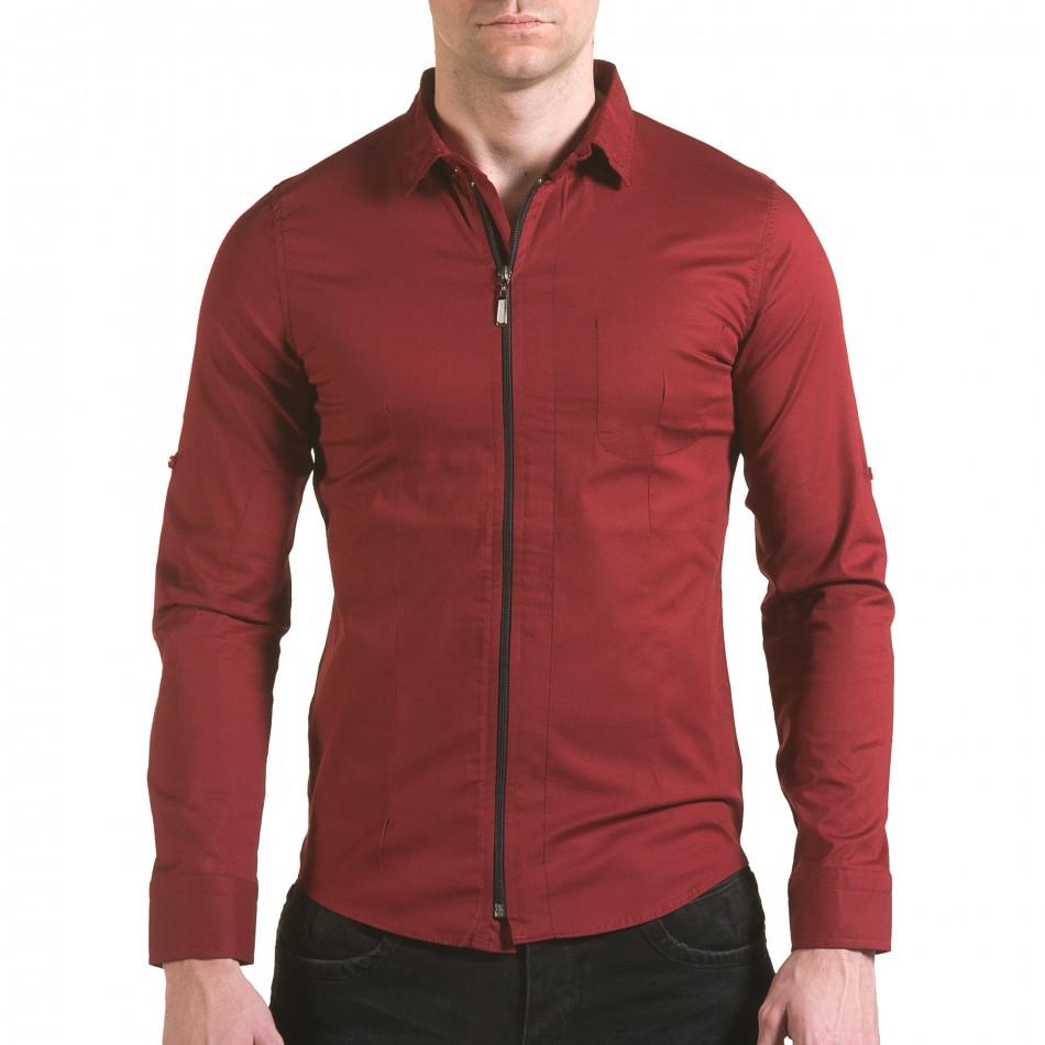 Мъжка червена риза с цип il170216-93