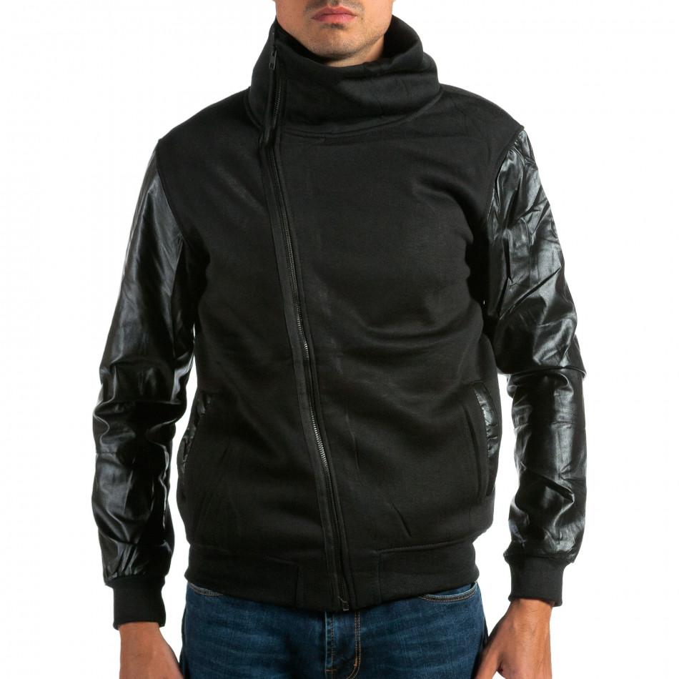 Мъжки черен суичър с кожени ръкави tsf290914-23
