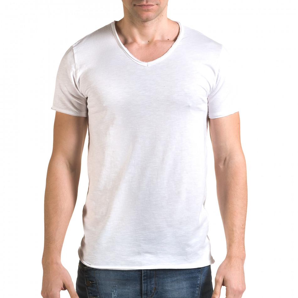 Мъжка бяла тениска изчистен модел it090216-79