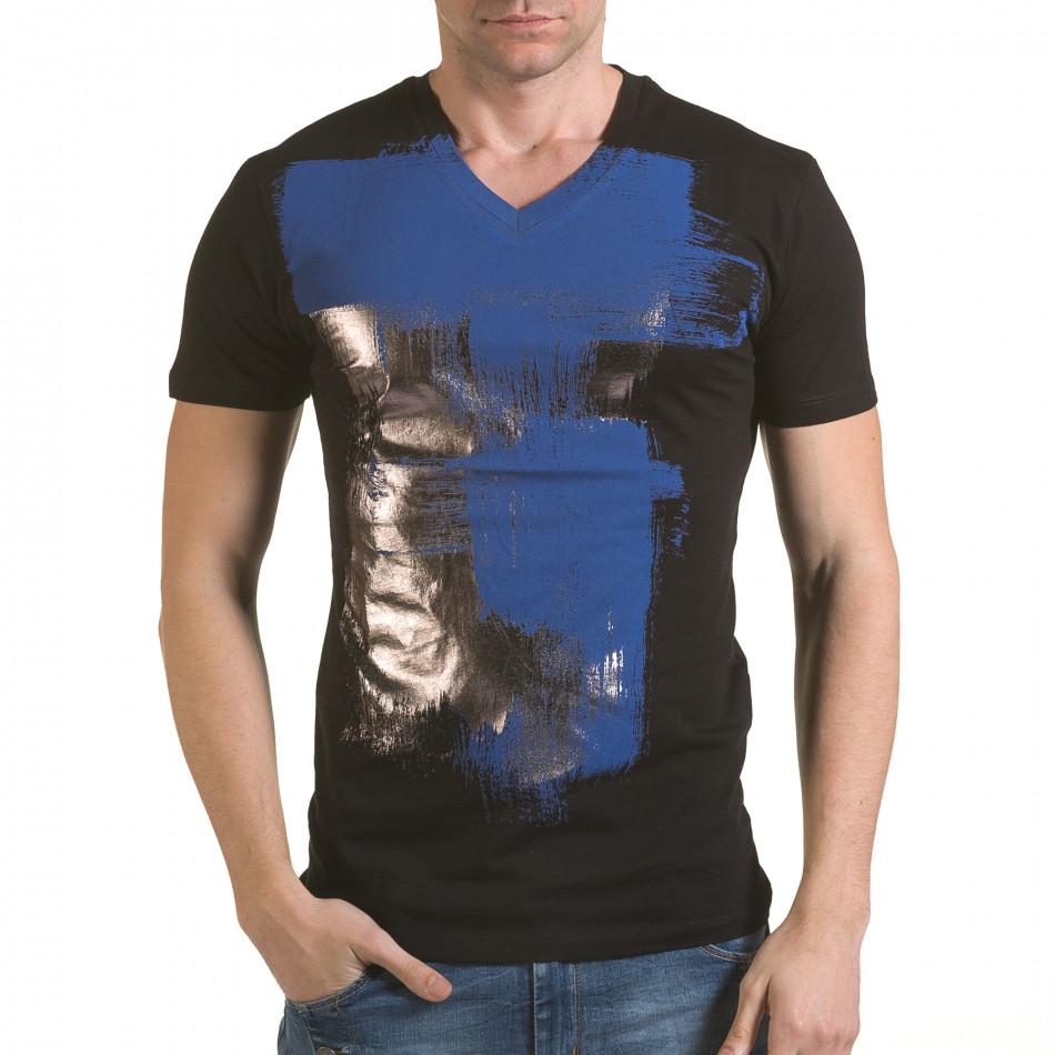 Мъжка черна тениска със сребристо-син принт il170216-42