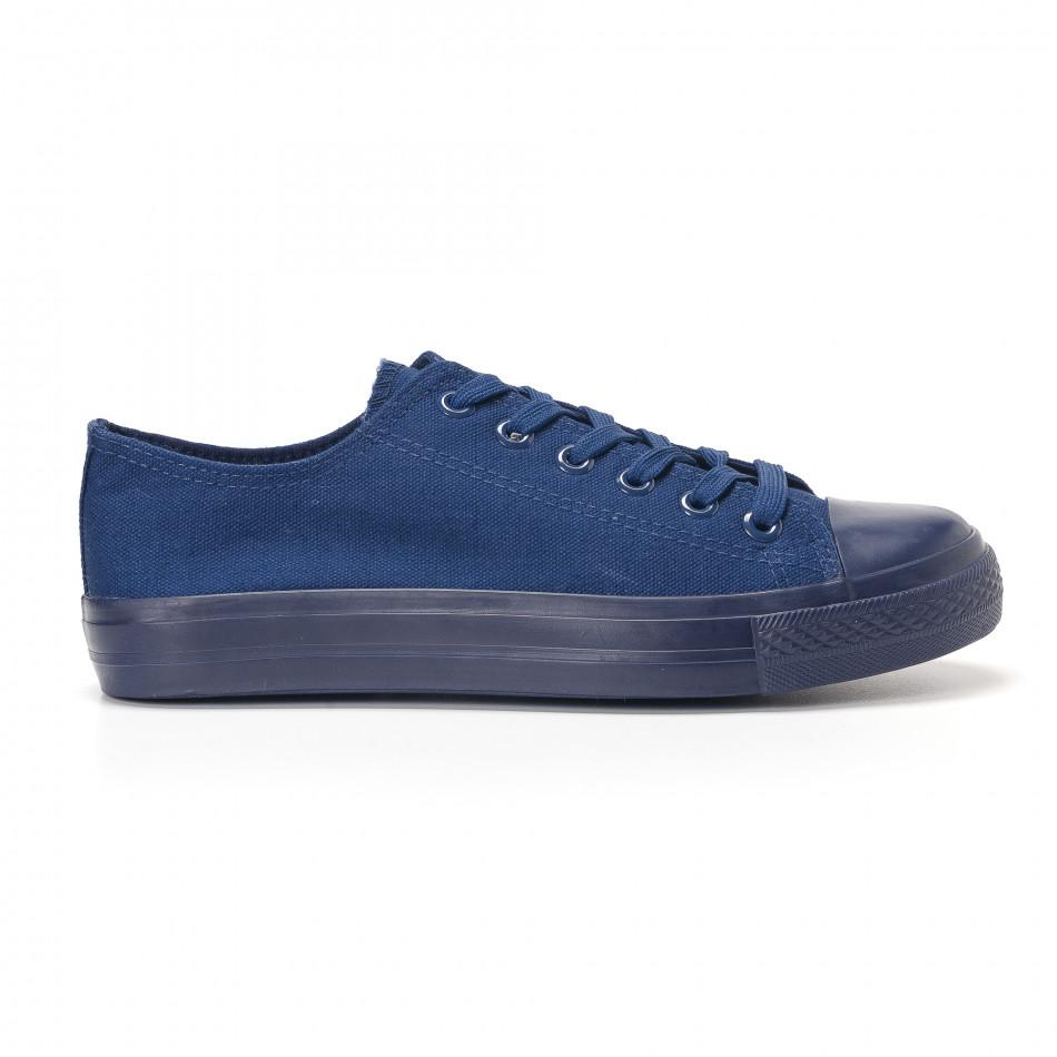 Мъжки тъмно сини кецове с гумена част отпред 41 it250118-3-1