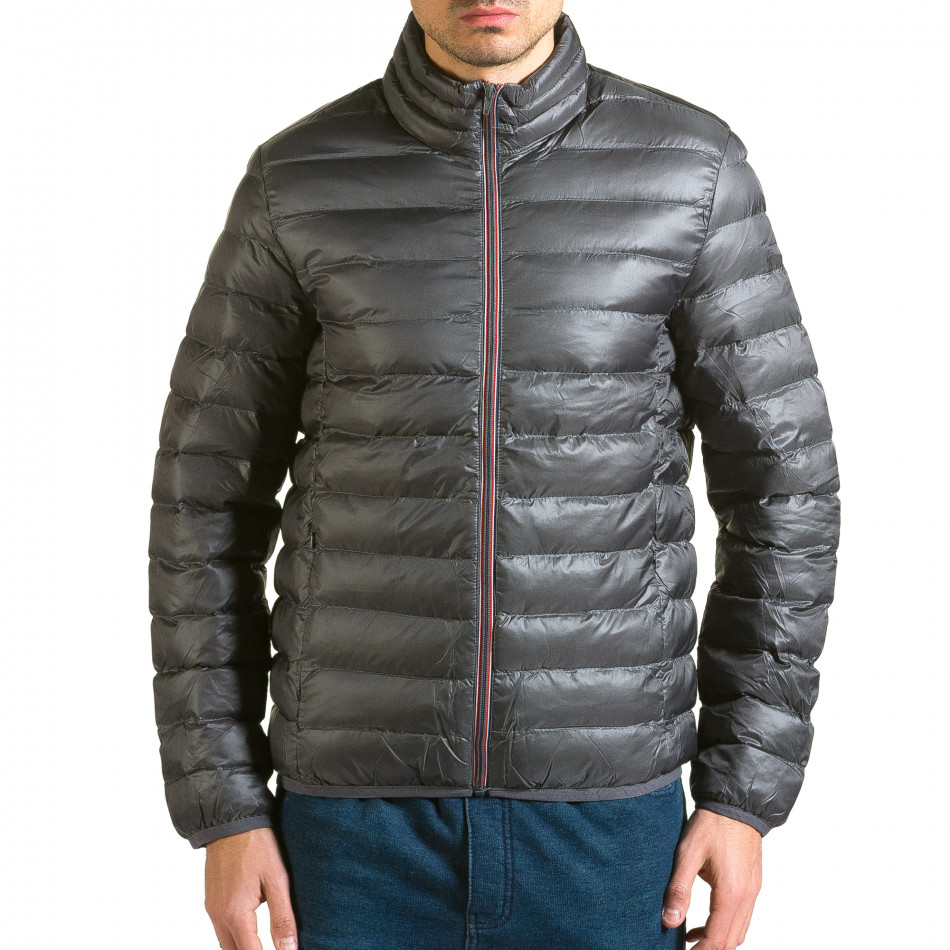 Мъжко сиво яке с черна подплата it110915-2