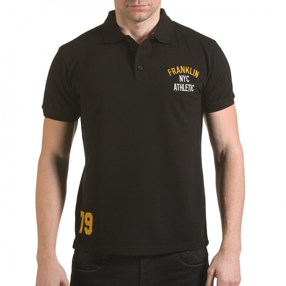 Мъжка черна тениска с яка с надпис Franklin NYC Athletic il170216-34