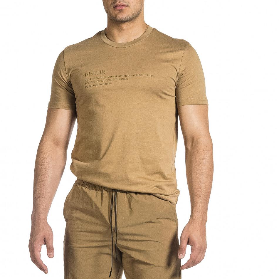 Мъжка бежова тениска с гумиран принт tr150521-5