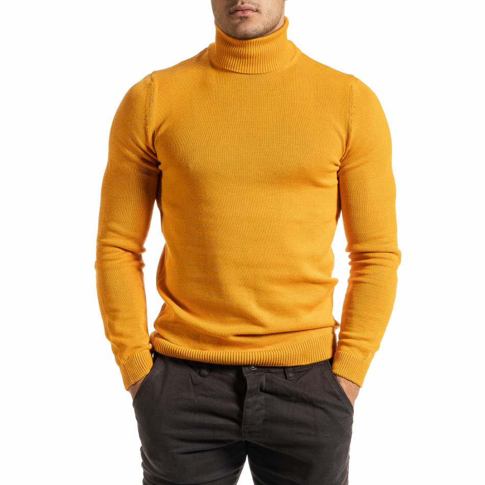 Мъжко оранжево поло от памучна смес it301020-20