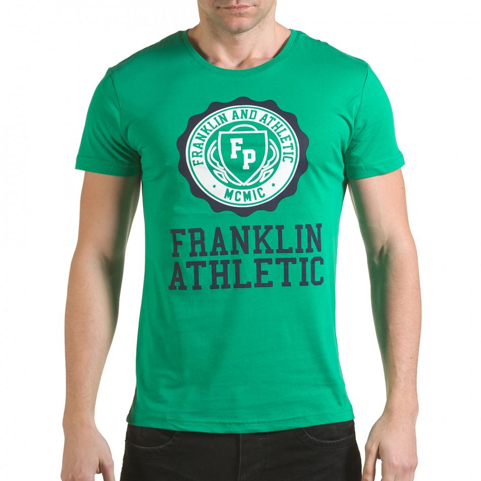 Мъжка зелена тениска с кръгъл принт отпред il170216-9