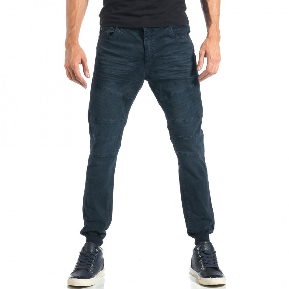 Мъжки сиво-син панталон с еластични маншети на крачолите it260917-52