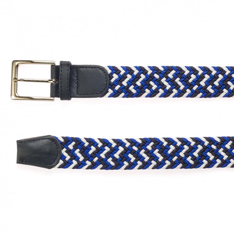 Мъжки плетен колан в бяло, синьо и черно it250915-5