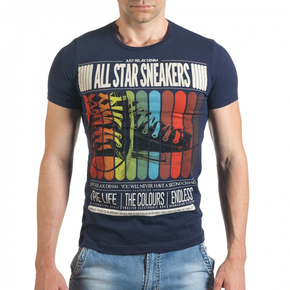 Синя мъжка тениска с шарен принт и надписи отпред il140416-20