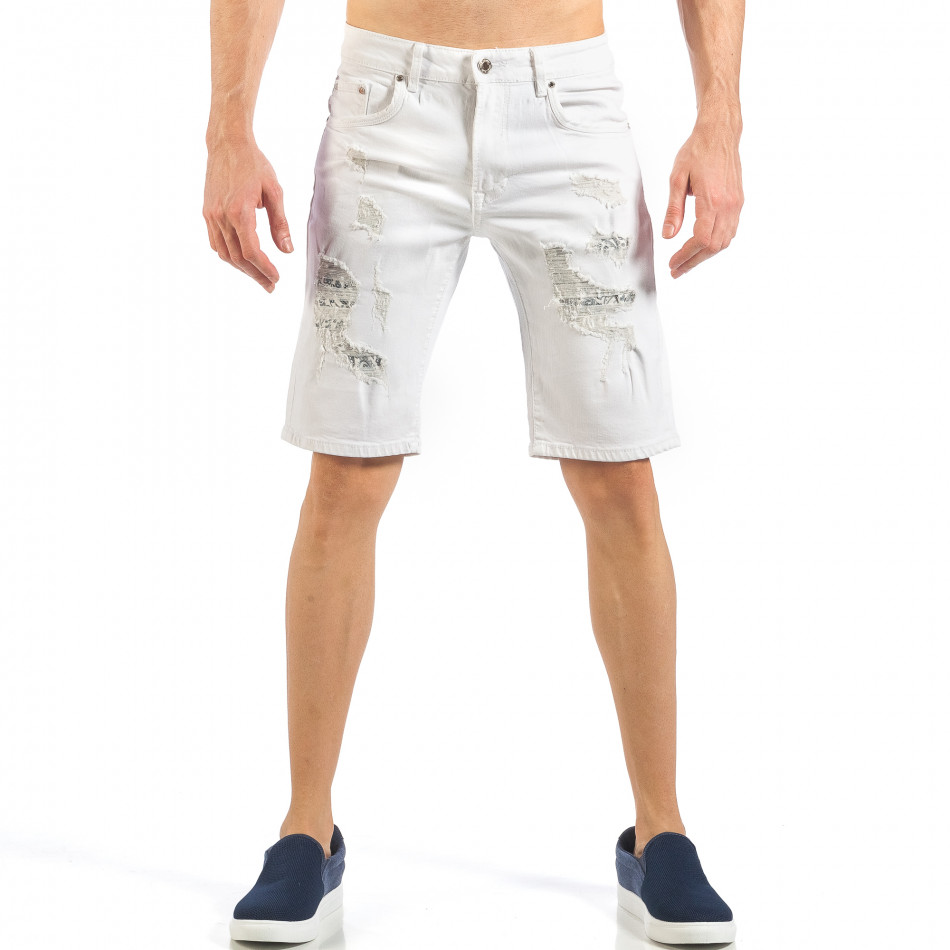 Мъжки бели къси дънки с фини кръпки it260318-121