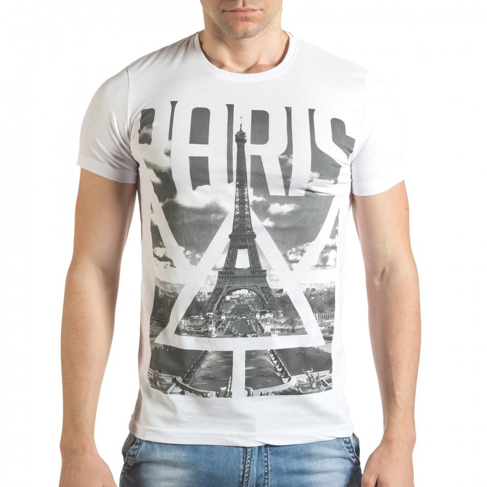 Мъжка бяла тениска с яка щампа отпред il140416-40
