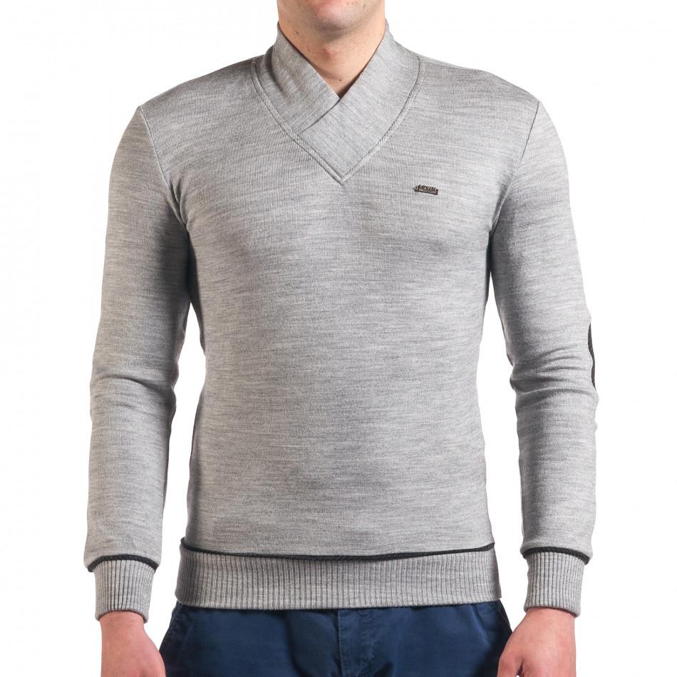 Мъжки светло сив пуловер изчистен модел tsf010416-3