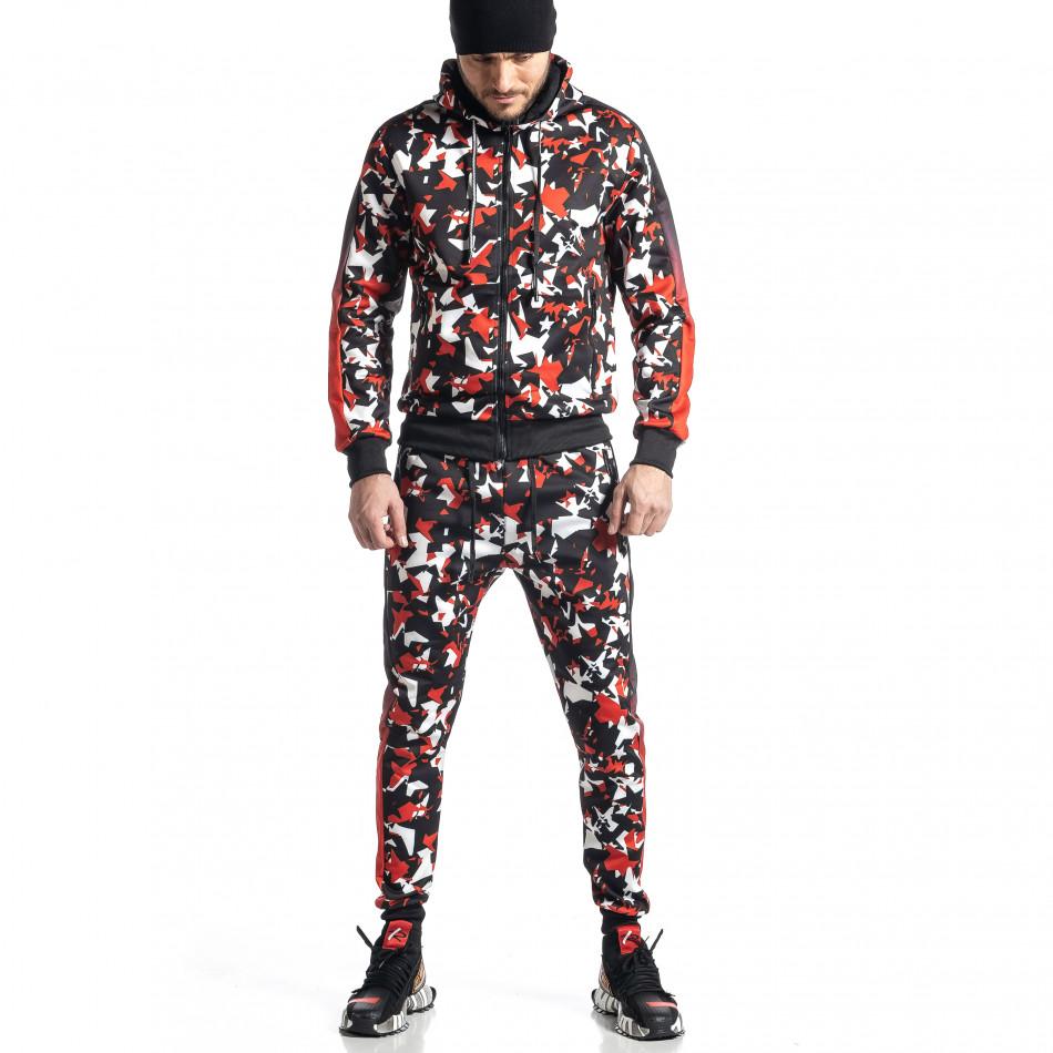 Мъжки черно-червен анцуг All over print it010221-51