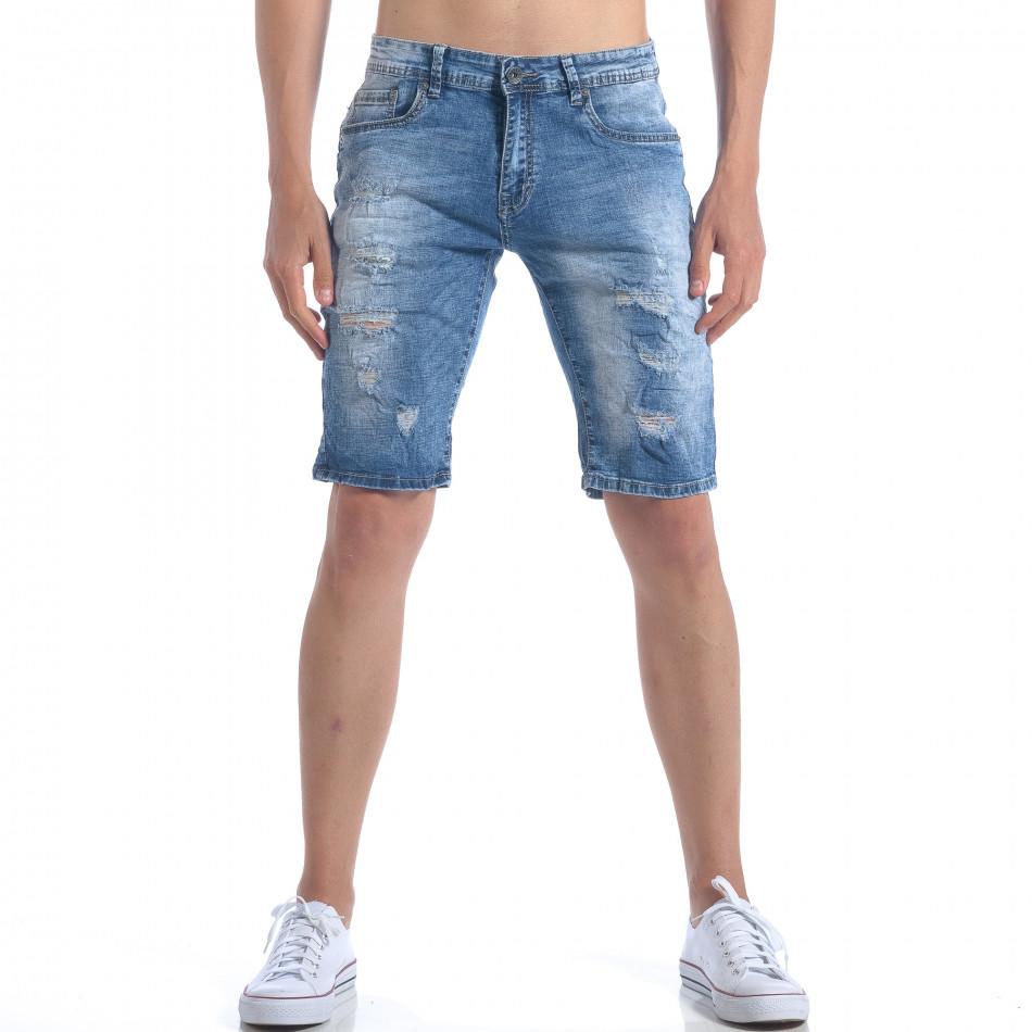 Мъжки къси дънки с декоративни скъсвания it050617-29