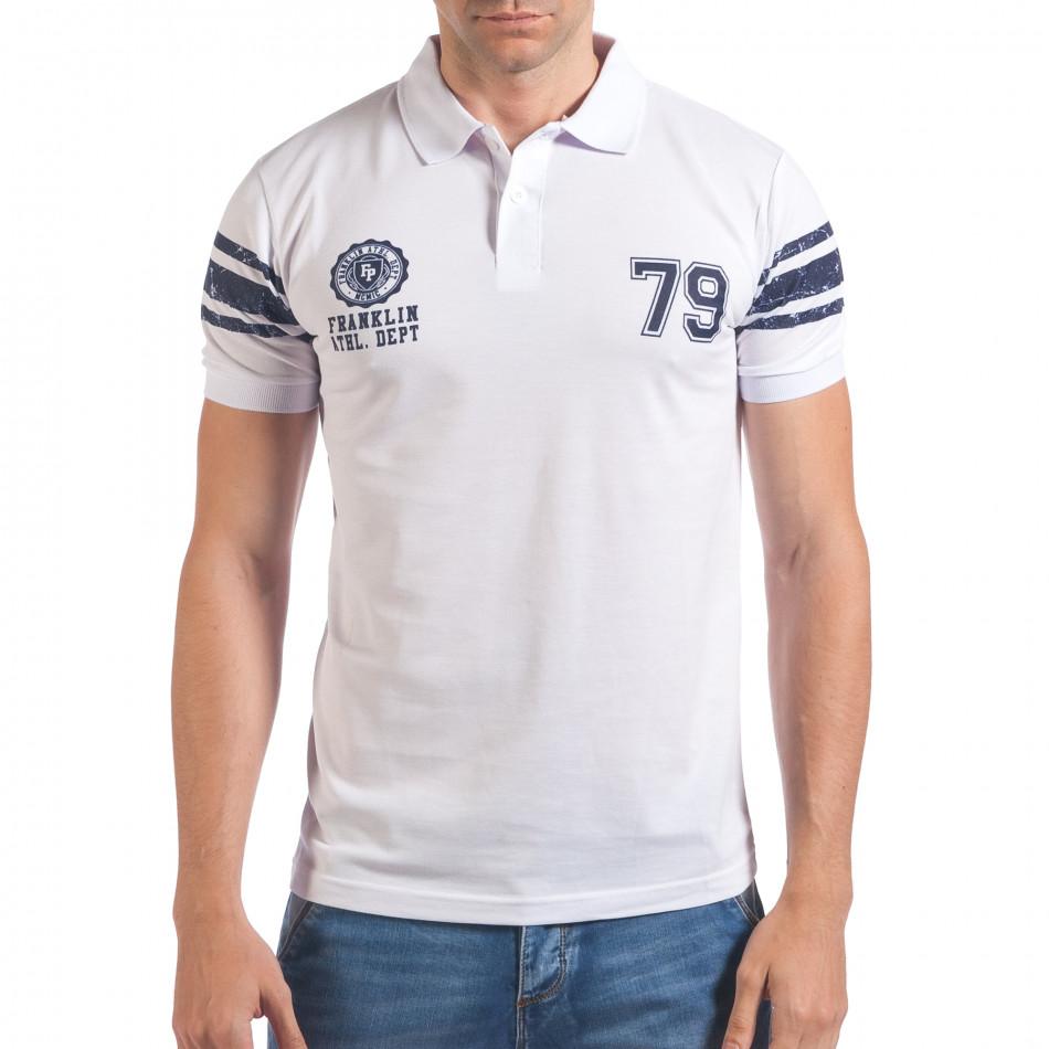 Мъжка бяла тениска с яка със син номер 79 il060616-104