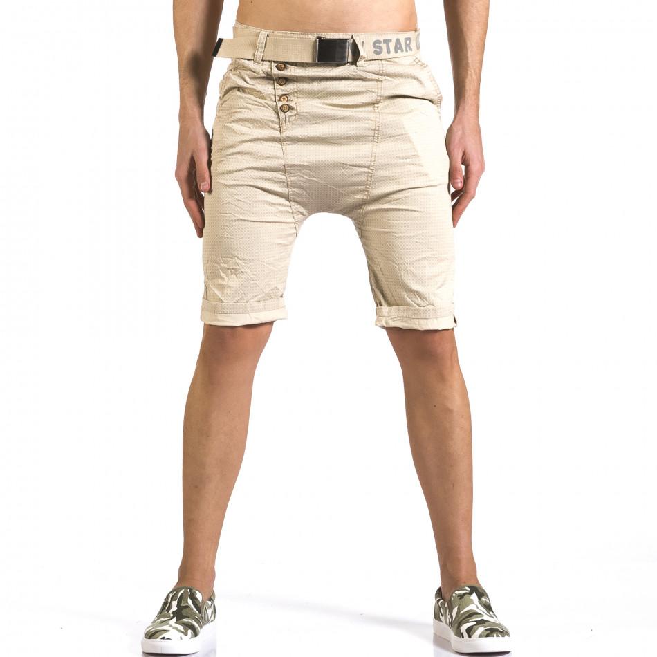 Мъжки бежови къси панталони с колан it110316-42