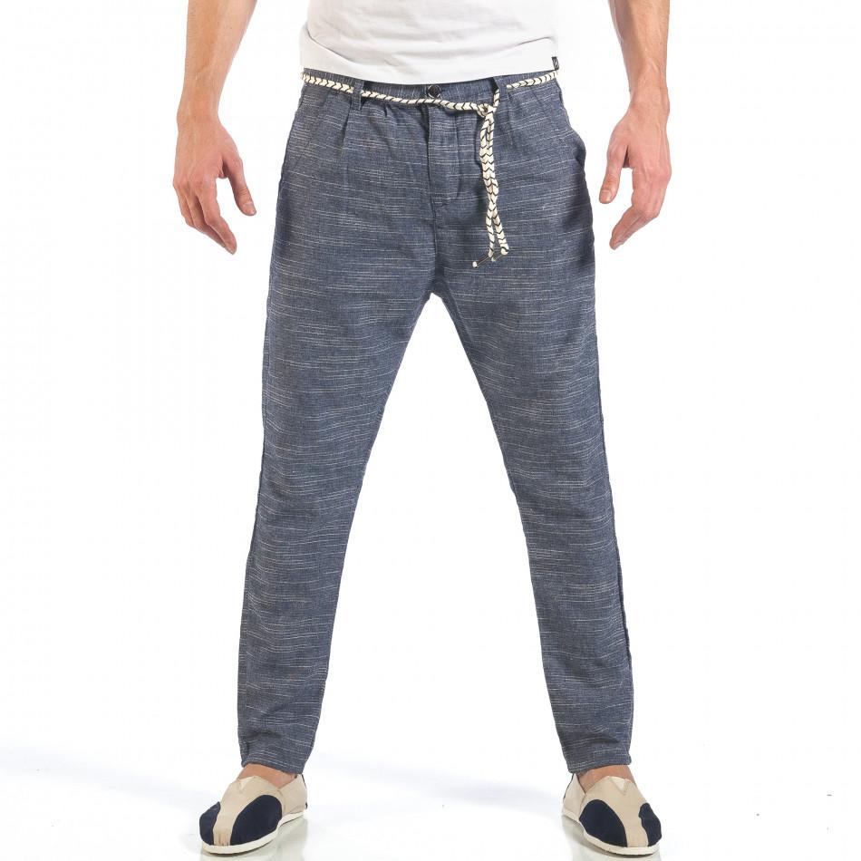 Мъжки сини леки панталони с колан шнур it260318-108