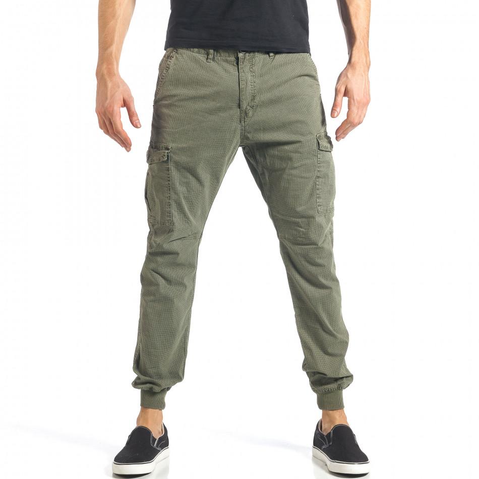Мъжки зелен карго панталон с малки детайли по плата it290118-26