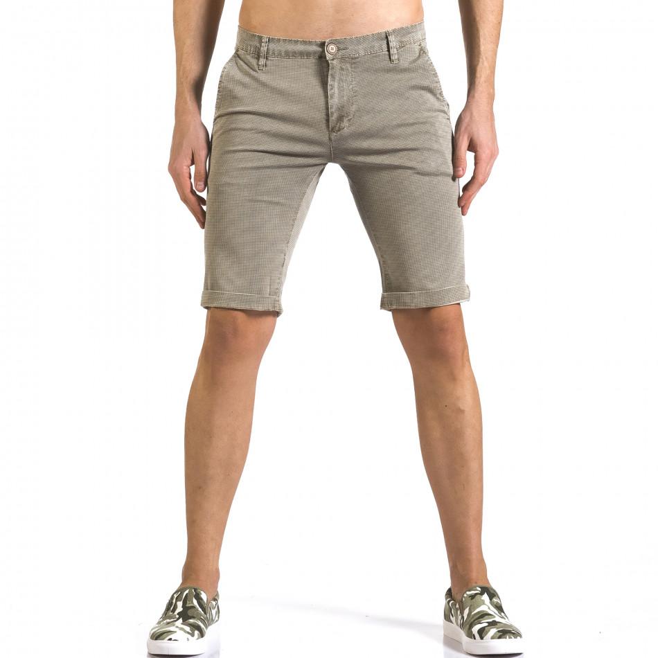 Мъжки бежови къси панталони с фин принт по плата it110316-48