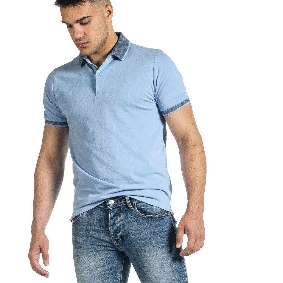 Мъжка светлосиня тениска с яка меланж it150521-13