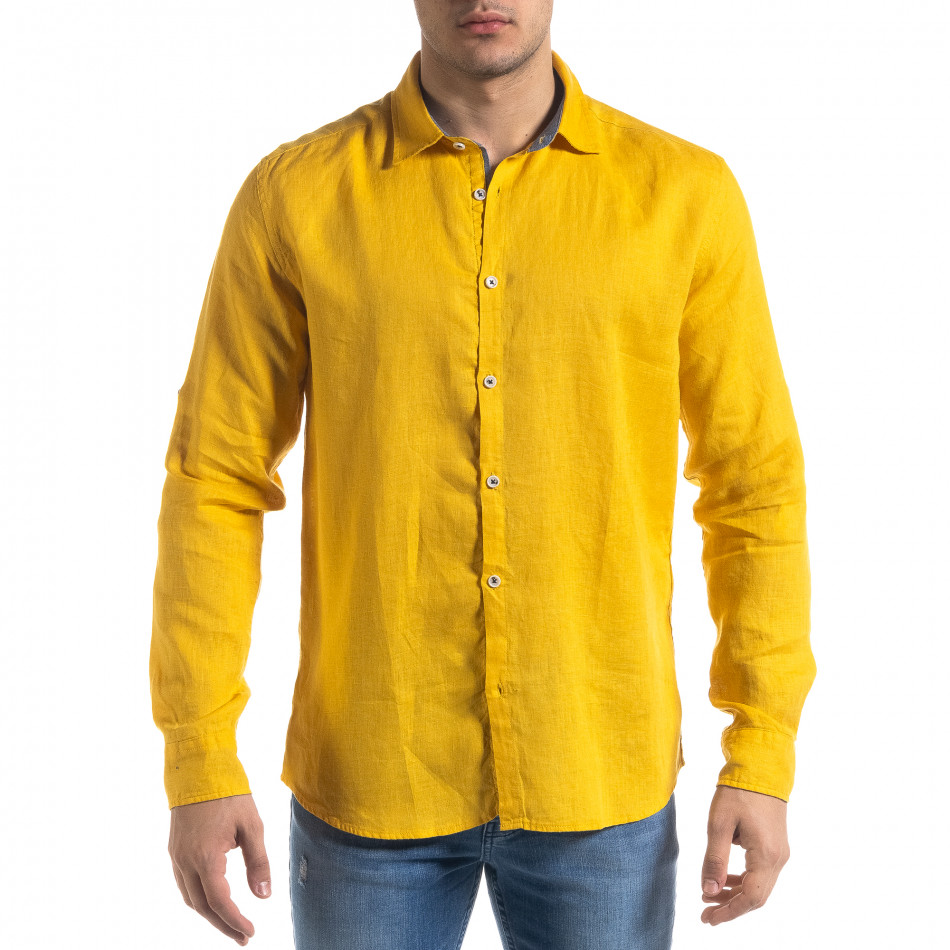 Ленена мъжка риза в жълто tr110320-95