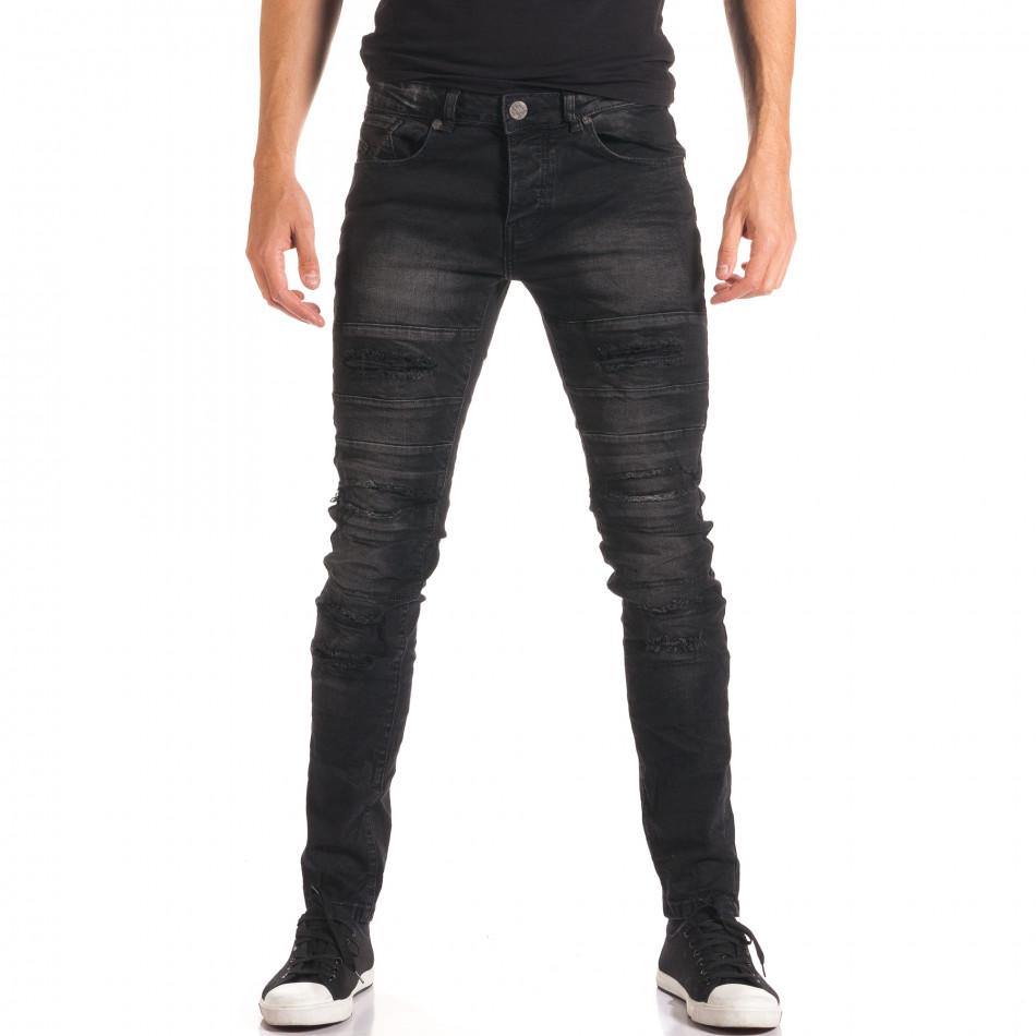 Мъжки черни дънки със скъсвания и допълнителни шевове it150816-35