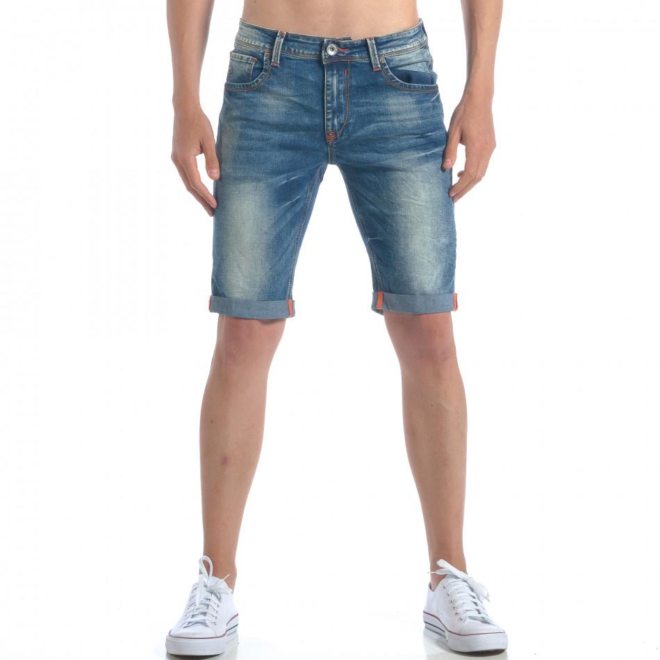 Мъжки къси дънки с навиване на крачолите it050617-31