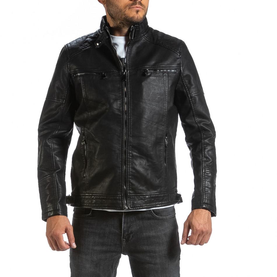 Рокерско черно кожено яке & Big Size il070921-34