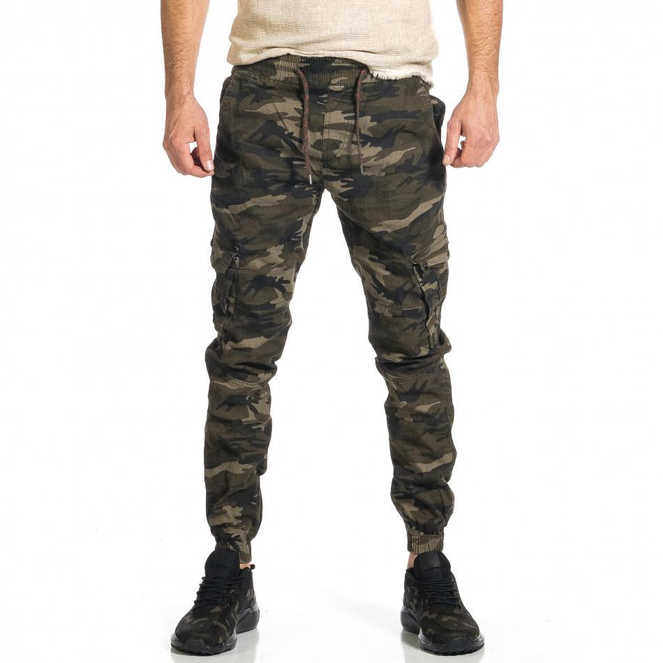 Мъжки карго панталон бежово-зелен камуфлаж tr270421-7