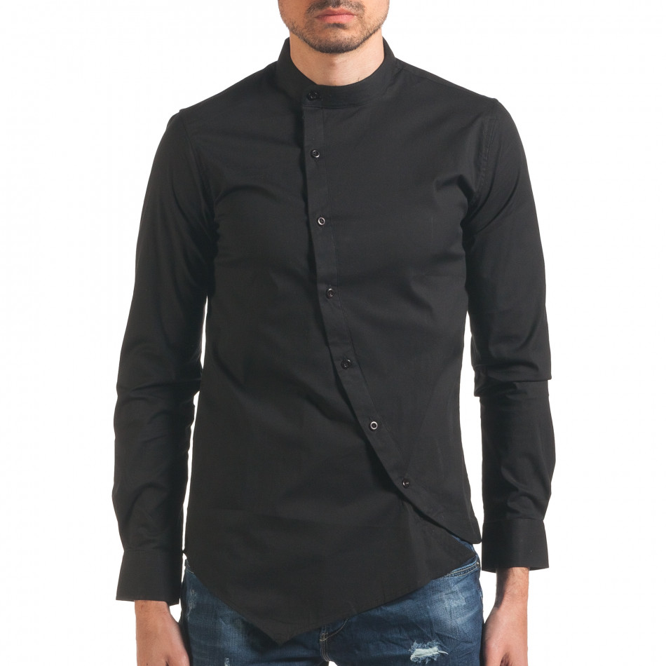 Мъжка риза черна с асиметрично закопчаване it250416-99