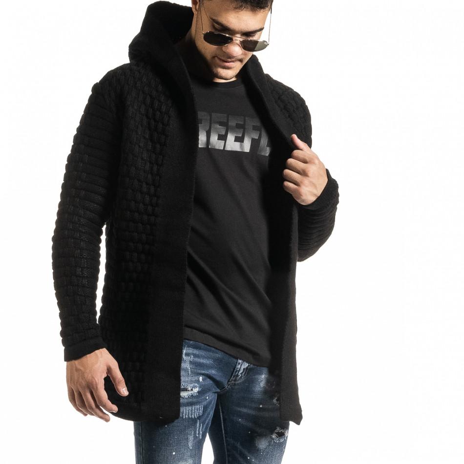 Структурирана черна жилетка с качулка  it301020-29