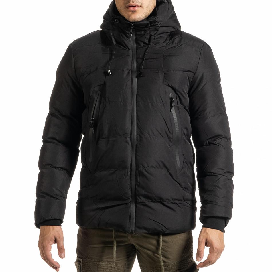 Мъжко черно пухено яке с качулка it301020-10