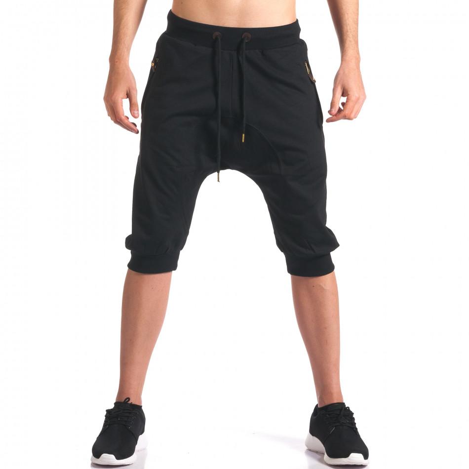 Черни мъжки къси потури с ципове на джобовете it260416-32